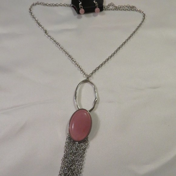 """Paparazzi 18"""" Silver Necklace and Earrings w/ Light Pink Accents (pk19)"""